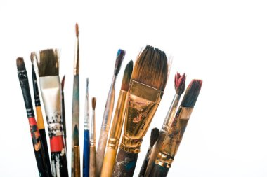 Selective focus of paintbrushes isolated on white stock vector