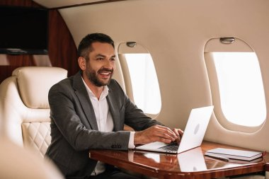 Selective focus of happy bearded businessman using laptop in first class stock vector