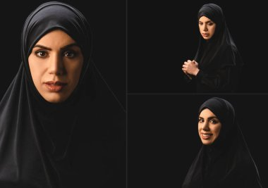 Collage of beautiful sad and smiling muslim woman looking at camera isolated on black