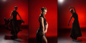 Photo collage of attractive and young woman dancing flamenco on red
