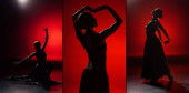 Photo collage of young and elegant woman dancing flamenco on red