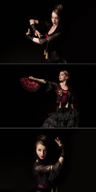 collage of elegant woman holding fan and gesturing while dancing flamenco isolated on black