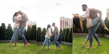 collage of couple dancing on grass outside