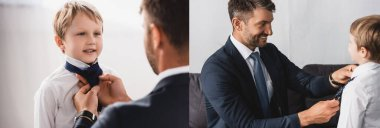 collage of smiling businessman in formal wear putting tie on happy son at home, horizontal image