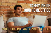 Photo young bi-racial man chilling with laptop on sofa near safely inside your home office, productive and protected lettering