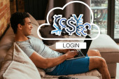 Photo smiling mixed race man using laptop with blank screen near cloud with money signs and login lettering