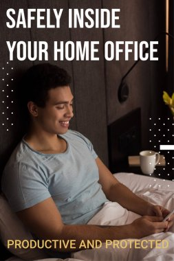 Happy mixed race man using smartphone near safely inside your home office, productive and protected lettering in bedroom stock vector