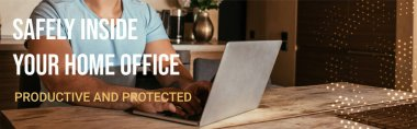 Website header of mixed race freelancer using laptop near safely inside your home office, productive and protected lettering stock vector