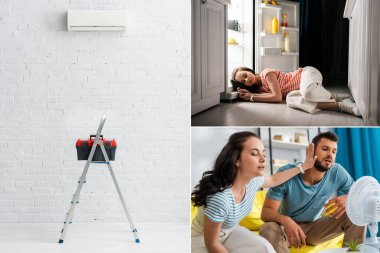 Collage of girl sleeping near open fridge, couple sitting near electric fan on couch and toolbox on ladder near air conditioner on wall stock vector