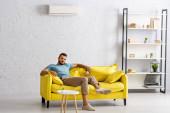 Fotografie Schöner bärtiger Mann blickt in die Kamera, während er die Fernbedienung der Klimaanlage im Wohnzimmer hält