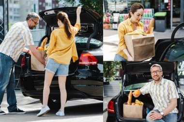 Collage of smiling couple putting shopping bag with food in car trunk on urban street stock vector