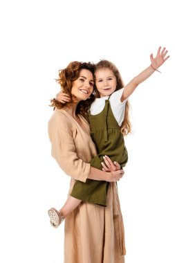 Cheerful mother holding in arms happy daughter isolated on white stock vector