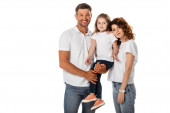 cheerful father holding in arms cute daughter and standing with curly wife isolated on white
