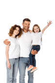happy father holding in arms cute daughter and hugging curly wife isolated on white