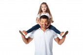 Photo cute kid sitting on shoulders of cheerful father isolated on white
