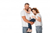 cheerful mother and daughter hugging man isolated on white