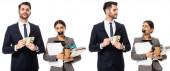 koláž obchodníka držícího dolary poblíž sekretářky s lepicí páskou na ústech, papírovým kelímkem a složkami v rukou izolovaných na bílém