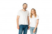 adult couple in white t-shirts and jeans posing isolated on white