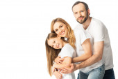 happy family in white t-shirts hugging isolated on white