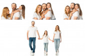 Fotografie collage of happy casual family hugging, holding hands while walking isolated on white