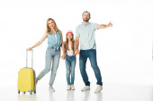 happy family with travel bag isolated on white