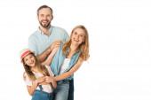 Fotografie glückliche Familie lächelt isoliert auf Weiß in die Kamera