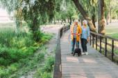 Selektivní zaměření pozitivního staršího muže s psím psem na vodítku při chůzi po dřevěném mostě v parku