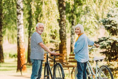 Senior couple smiling at camera while standing near bicycles in park stock vector