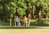 Usmívající se starší žena na kole chůze vedle manžela na trávě v parku