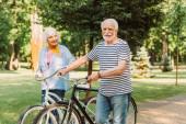 Usmívající se muž při pohledu na kameru při chůzi na kole v blízkosti manželky v parku