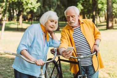 Elderly couple using smartphone near bikes in park stock vector