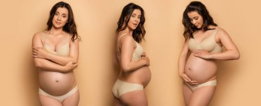 collage of young pregnant woman in lingerie touching belly and standing with crossed arms on beige, horizontal image