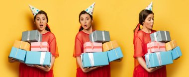 Collage of surprised pregnant woman in party cap holding gift boxes on yellow, horizontal image stock vector