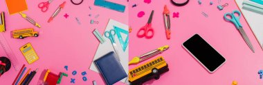 collage of school stationery near smartphone with blank screen and school bus model on pink, horizontal concept