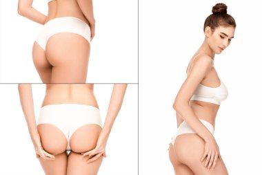 Collage of woman with perfect body in panties and top standing isolated on white stock vector