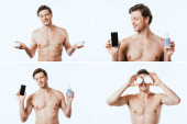 Collage of shirtless man holding jars of cosmetic creams, bottle of lotion and smartphone isolated on white