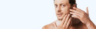 Horizontal image of shirtless man touching skin on cheek isolated on white stock vector