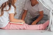 Ausgeschnittene Ansicht eines Mädchens, das Buch hält, während es mit Bruder in Kinderwigwam sitzt