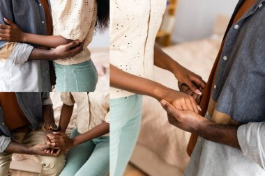 Collage of african american couple in casual clothes holding hands and embracing at home, cropped view stock vector