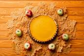 vrchní pohled na díkůvzdání dýňový koláč s jablky a podzimní zeleň na dřevěném pozadí