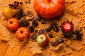 Fotografie burning candle with pumpkins and autumnal decoration on golden foliage