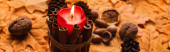 Photo selective focus of burning candle with autumnal brown decoration on golden foliage, panoramic shot
