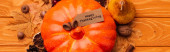 Photo top view of pumpkin with autumnal decoration and happy thanksgiving card on wooden background, panoramic shot
