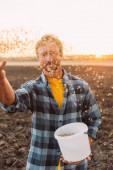 selektivní zaměření zemědělce držícího kýbl při setí obilovin na poli