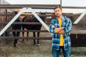 farmář v kostkované košili při pohledu na kameru, zatímco stojí se zkříženýma rukama v blízkosti ohrady s koňmi