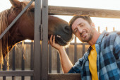 Fotografie rancher in plaid shirt touching horse while looking at camera near corral fence