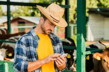 Farmer in checkered shirt and straw hat chatting on cellphone on farm near cowshed stock vector