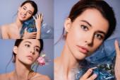 Collage nackter Frau mit Ananas und Blumen in Polyethylen auf grau, ökologisches Konzept