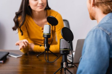 Cropped view of radio host gesturing while interviewing man in studio stock vector