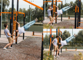 collage of father exercising on horizontal bars near teenager son outside